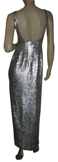Saks Fifth Avenue Silver Fully Sequin Evening Formal Gown Long Night Out Dress Size 2 (XS) Saks Fifth Avenue Silver Fully Sequin Evening Formal Gown Long Night Out Dress Size 2 (XS) Image 1
