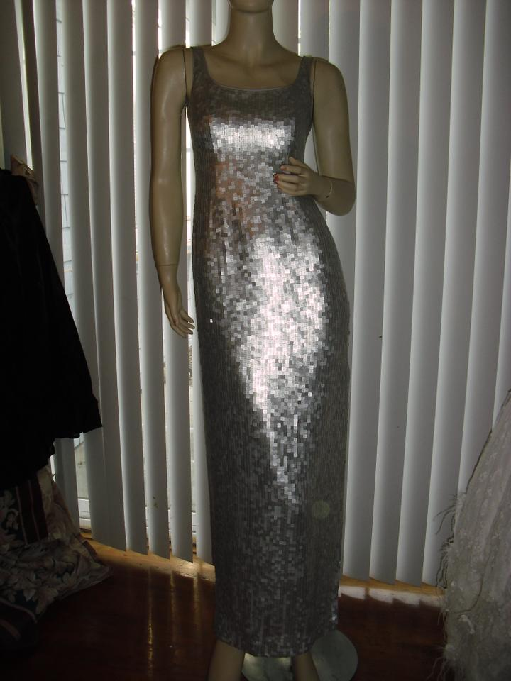 Saks Fifth Avenue Silver Fully Sequin Evening Formal Gown Long Night ...