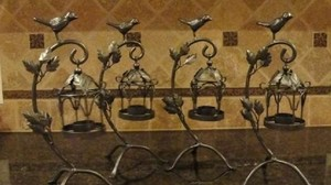 4 Brand New Wrought Iron Birdcages Tealight Holders