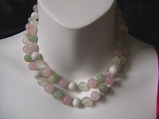 Vintage Vintage Multi Color Jade & Quartz Necklace