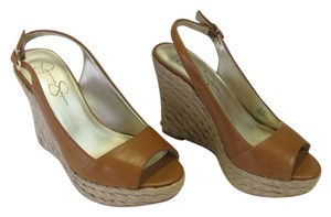 Jessica Simpson Leather Size 5.50 M (usa) Very Good Condition NEUTRAL Wedges