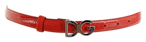 Dolce&Gabbana DOLCE & GABBANA Red 100% Leather Belt w/Silver 'DG' Logo Buckle - GREAT - Sz 40