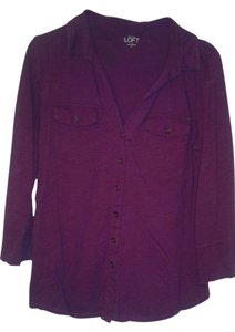 Ann Taylor LOFT Dark 3/4 Sleeves Tunic Button Down Shirt dark purple