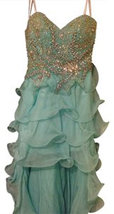 Sherri Hill Prom Prom Mintcolor Ruffles Hi/low Lv Mk Senior Strapless Strappy Boobs Stilletto Chanel Dress