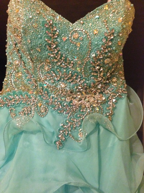 Sherri Hill Prom Prom L Color Ruffles Hi/Low Lv Mk Senior Strapless Strappy Boobs Stilletto Chanel Dress