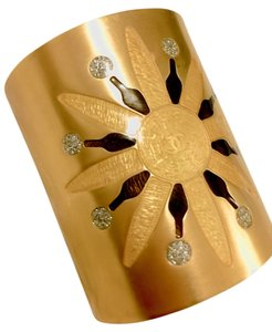 Chanel Chanel Gold Metal Cuff with Sun Detail