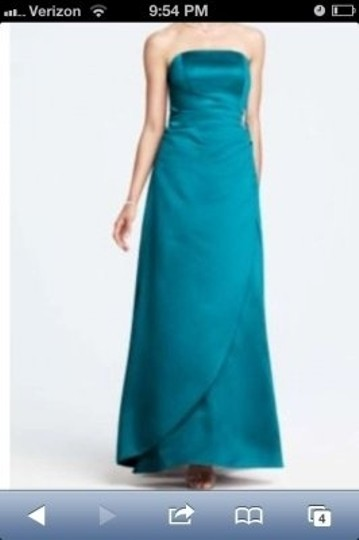 David's Bridal Oasis Satin Gown with Drape and Brooch #8567 Traditional Bridesmaid/Mob Dress Size 8 (M)