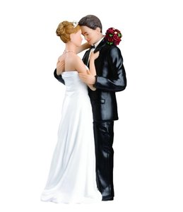 Romantic Wedding Cake Topper Caucasian Tender Moment Cake Topper Figurine Beautiful Wedding Cake Topper Gift Figurine