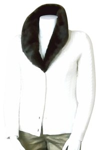 Charter Club Cable Knit Faux Fur Collar Long Sleeve Cardigan