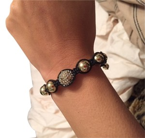 Unknown DIAMOND AND GOLD BALL MACRAME BRACELET