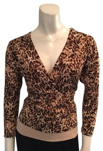 Norton McNaughton Top Brown & Tan Animal Print