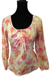 Ann Taylor LOFT Top White, Pink, & Orange