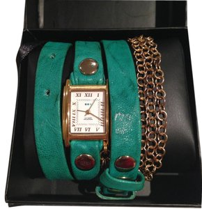 La Mer Collection Leather Triple Wrap Watch with Goldtone Chain