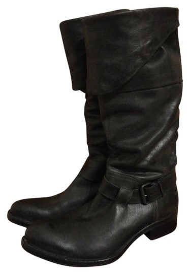 MOMA Leather Leather Equestrian Buckle Strap Black Boots