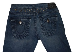 True Religion Studded Distressed Ripped Straight Leg Jeans-Distressed