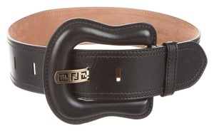 Fendi Black leather Fendi waist wide Zucca monogram belt S Small New