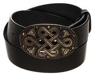 Versace Versace Black Leather Medusa Buckle Belt (Size 90)
