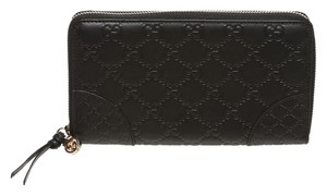 Gucci Gucci Black Guccissima Leather Zip Around Wallet