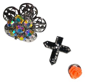 New Snap Button Adjustable Statement Ring 3 Buttons Cross J2237