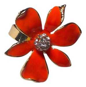 New Orange Flower Adjustable Statement Ring One Size Fits Most J2238 Summersale