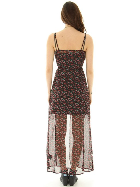 Black with Flower Print Maxi Dress by Volcom Image 1
