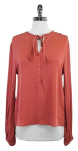 Diane von Furstenberg Coral Silk Long Sleeve Top