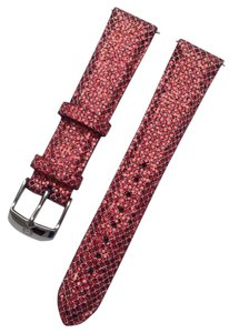 Michele Authentic MICHELE 18mm Red Crystal Leather Watch Band