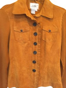 Live A Little Suede Front Golden brown Leather Jacket