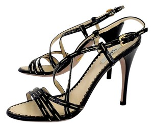 Prada Black Patent Leather Strappy Heels Heels Sandals