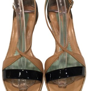 Sportmax Tan/Black Patent Sandals Pumps