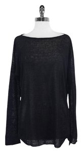 Vince Black Semi Sheer Long Sleeve Sweatshirt