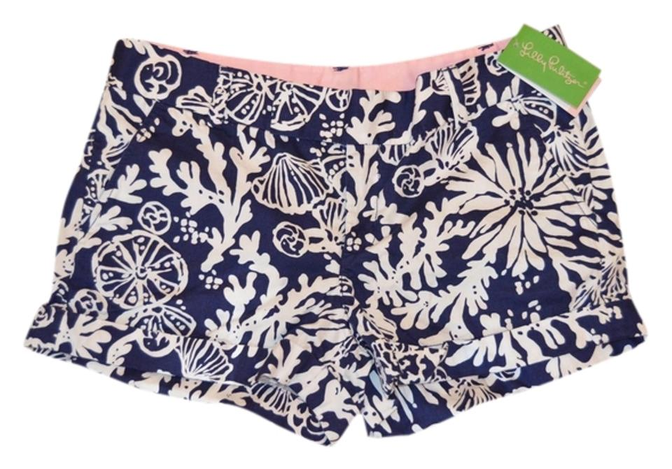 167a6e1e1d Lilly Pulitzer Barclay The Groove Navy Size 10 Mini/Short Shorts Blue and  White Image ...