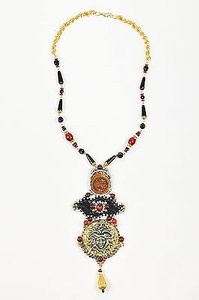 Lawrence Vrba Gold Tone Red Black Crystal Medusa Pendant Statement Necklace