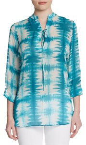 Rory Beca Joie Josie Tory Burch Tunic Beach Summer Silk Theory Equipment Rl Ralph Lauren Donna Karen Dvf Cream Aqua Turqoise Up Top blue