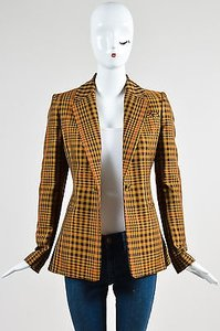 Altuzarra Altuzarra Tan Brown Wool Plaid Acacia Ls Blazer Jacket