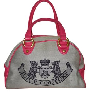Juicy Couture Leather Trim Satchel in pink & light grey