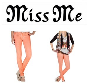 Miss Me Neon Orange Lightly Coated Stretch Skinny Jeans-Coated
