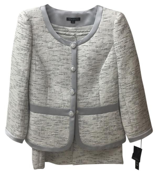Item - Silver/Grey and White Skirt Suit Size 4 (S)