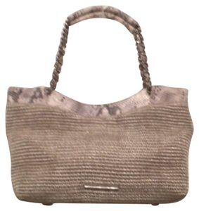Elaine Turner Woven Leather Tote Elaine Satchel in Silver White Gray