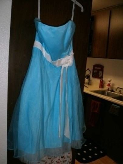 Alfred Angelo Blue Box and Ivory Trim Satin Organza Satin Flower 7014 Feminine Bridesmaid/Mob Dress Size 10 (M)