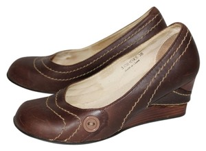 FLY London Brown with Contrast Piping Wedges