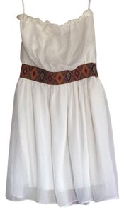Honey Punch short dress White with colored waistband on Tradesy