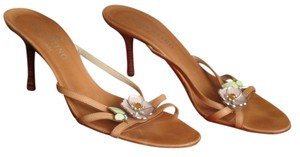 Valentino Enamel Flowers Tan, Pink Sandals