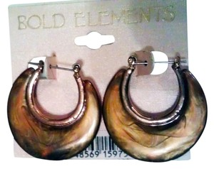 Bold Elements Brown Twirl Hoop Earrings by Bold Elements