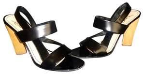 Saint Laurent Black Leather Black, Wooden Heels Sandals