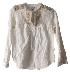 J.Crew Top White/ tan embroidery
