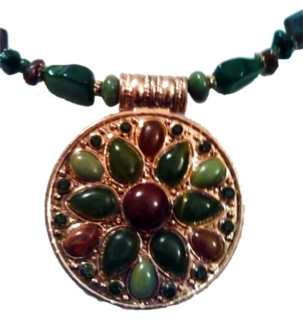 """Item - Grean Browm Medallion Adjustable Choker 16"""" To 19"""" By Necklace"""