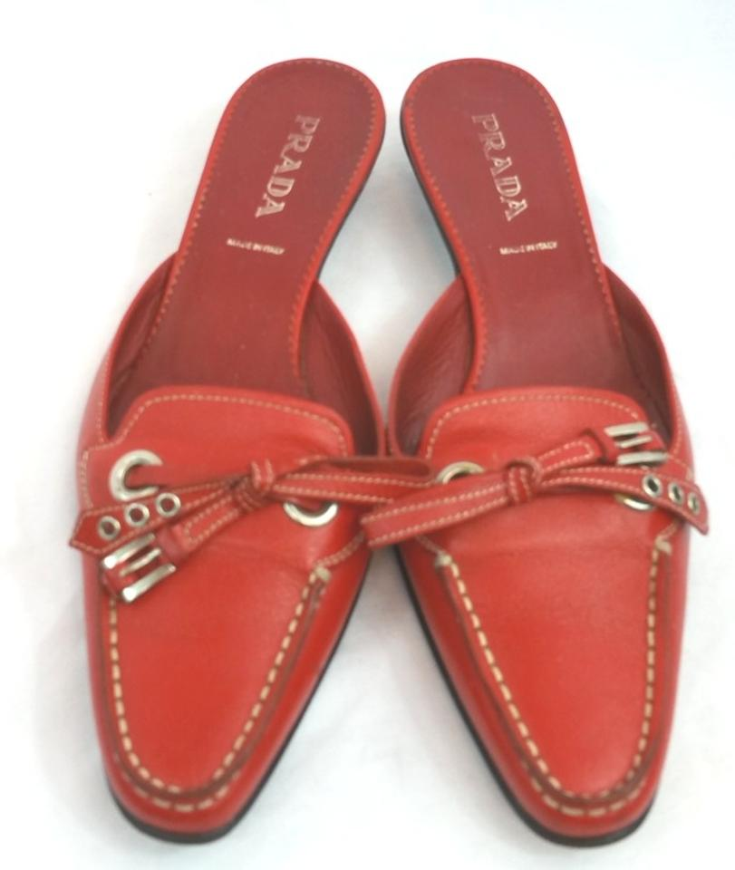 5f2823eb3ba7 Prada Red Slip-on Leather Mules Slides. Size  US 7 Regular (M ...