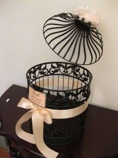 Black & Eggplant Purple Birdcage Card Holder Reception Decoration