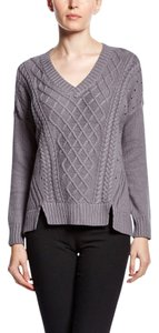 XCVI Cableknit Angora V-neck Cotton Sweater